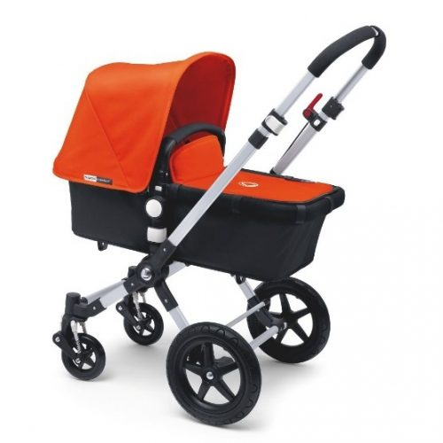 Bugaboo Cameleon3 with orange sun canopy, black bassinet and 4 wheels