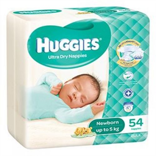 Pack of 54 Newborn Huggies Ultra Dry Nappies for babies up to 5kg