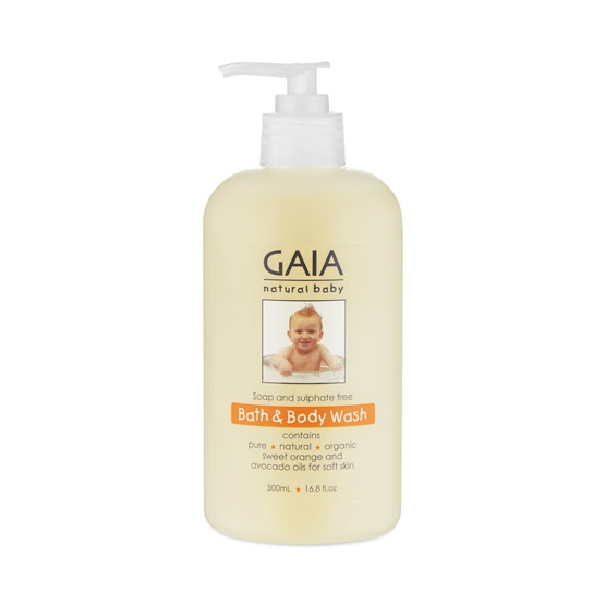 GAIA Natural Baby Bath & Body Wash 500ml pump bottle