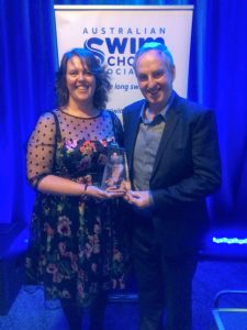 JUMP! Swim Schools Hackham owners Sharyn and Geoff Loller accept the Australian Swim Schools Association inaugural Inclusive Swimming Award.