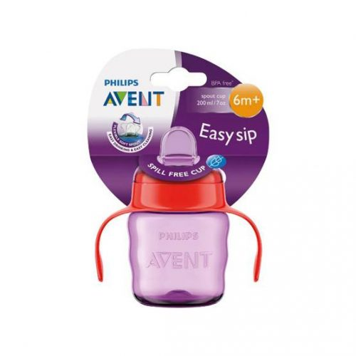 200mL purple/red Philips Avent Easy Sip Spout Cup w/ Handle