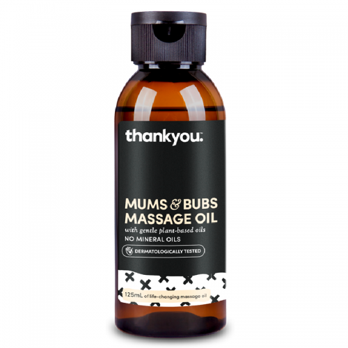 125mL black bottle of Thankyou Mums & Bubs Massage Oil