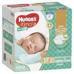 Huggies Ultimate® Nappies Newborn up to 5kg Jumbo pack 108 nappies