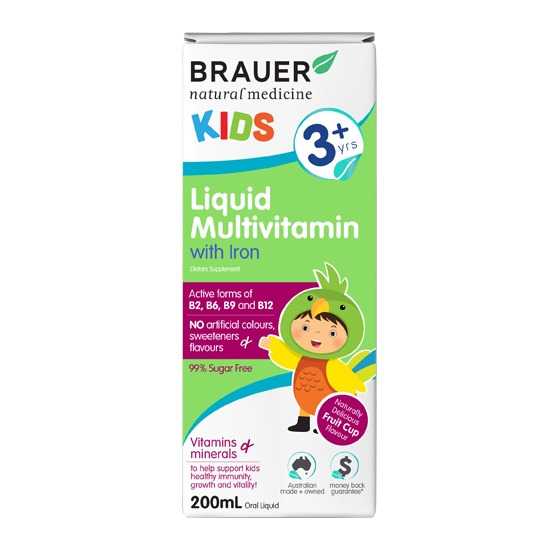 Brauer Natural Medicine Kids Liquid Multivitamin with Iron