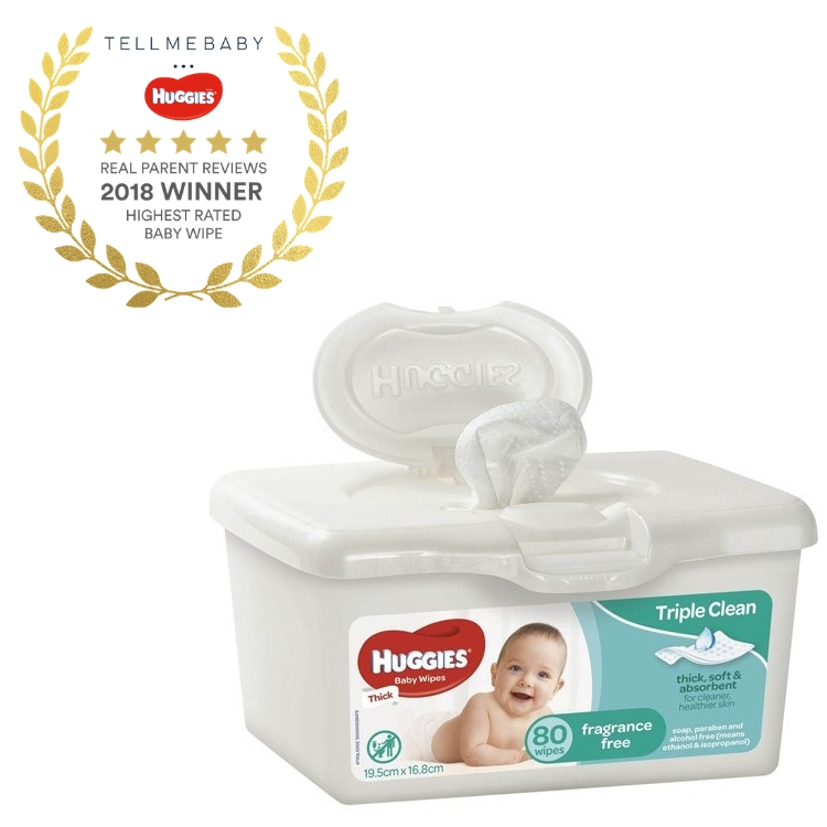 The top baby wipes 2018 is the Huggies Fragrance-Free Baby Wipes Tub in the Tell Me Baby 2018 Awards for best baby products