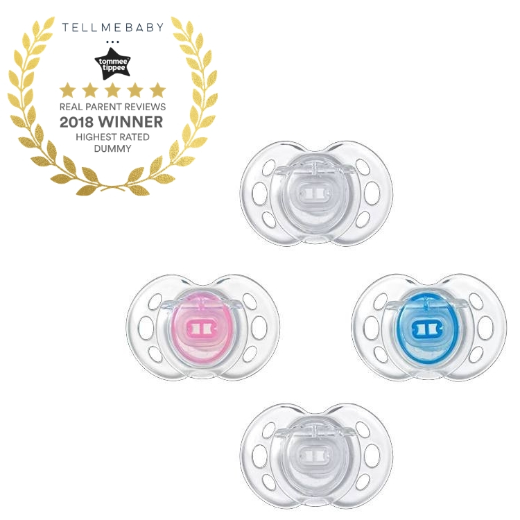 The top dummy 2018 is the Tommee Tippee Closer to Nature Air Style Soother in the Tell Me Baby 2018 Awards for best baby products