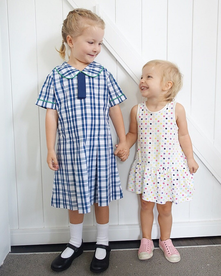 School girl and Sibling
